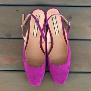 Cerise pink square toe flat sling backs